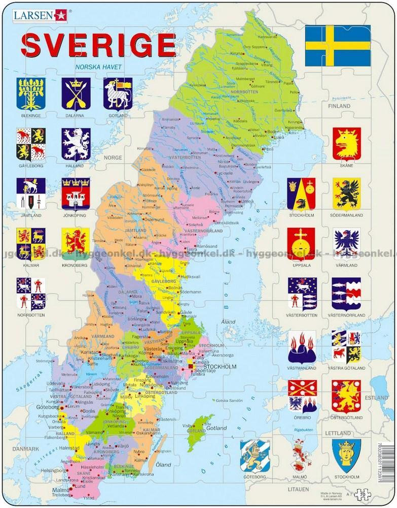 Kort Over Sverige Rammepuslespil 70 Brikker