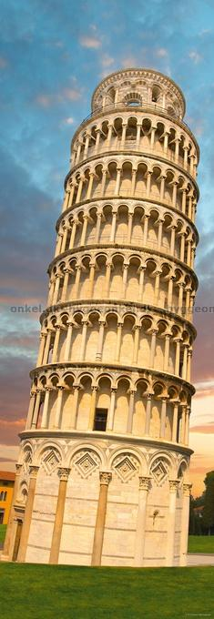 Det skæve tårn i Pisa, Italien - Panorama, 1000 brikker!