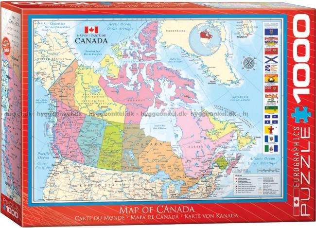 Kob Kort Over Canada 1000 Brikker Fragt 25 Kr